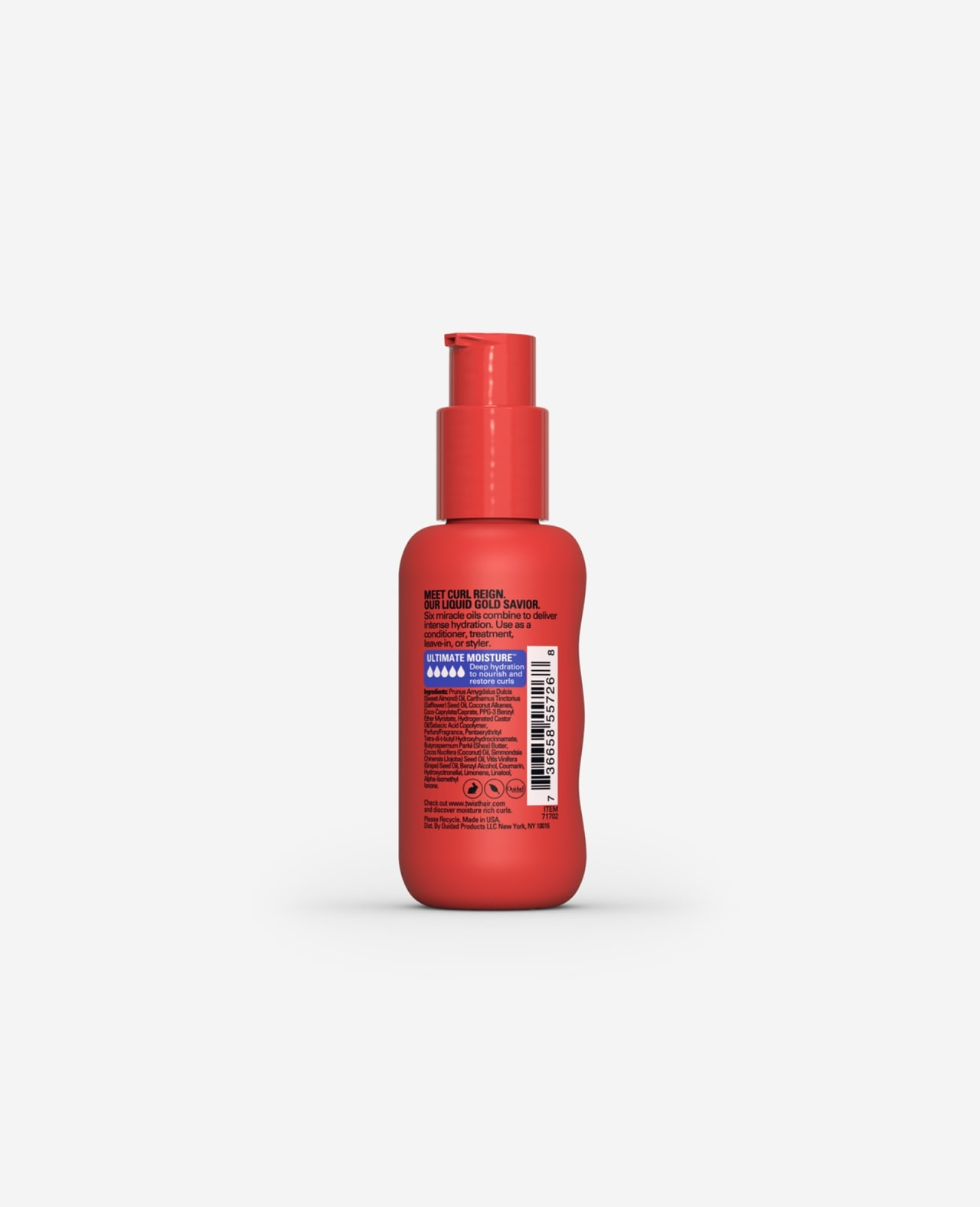 Twist Curl Reign Multi Use Miracle Oil Ultimate Moisture for Curls 2.5 fl.oz. back of pump bottle