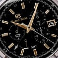 Grand Seiko SBGC205 Chronograph - macro of black dial with gold-tone accents.