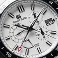 Grand Seiko SBGC221 Chronograph - macro of white textured dial.