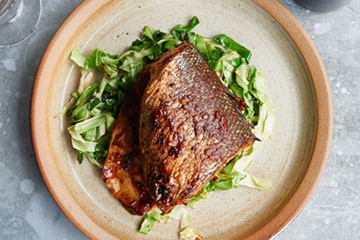 Sea Bass on the Bone with Spicy Sour Chilli Sauce and Cabbage recipe image