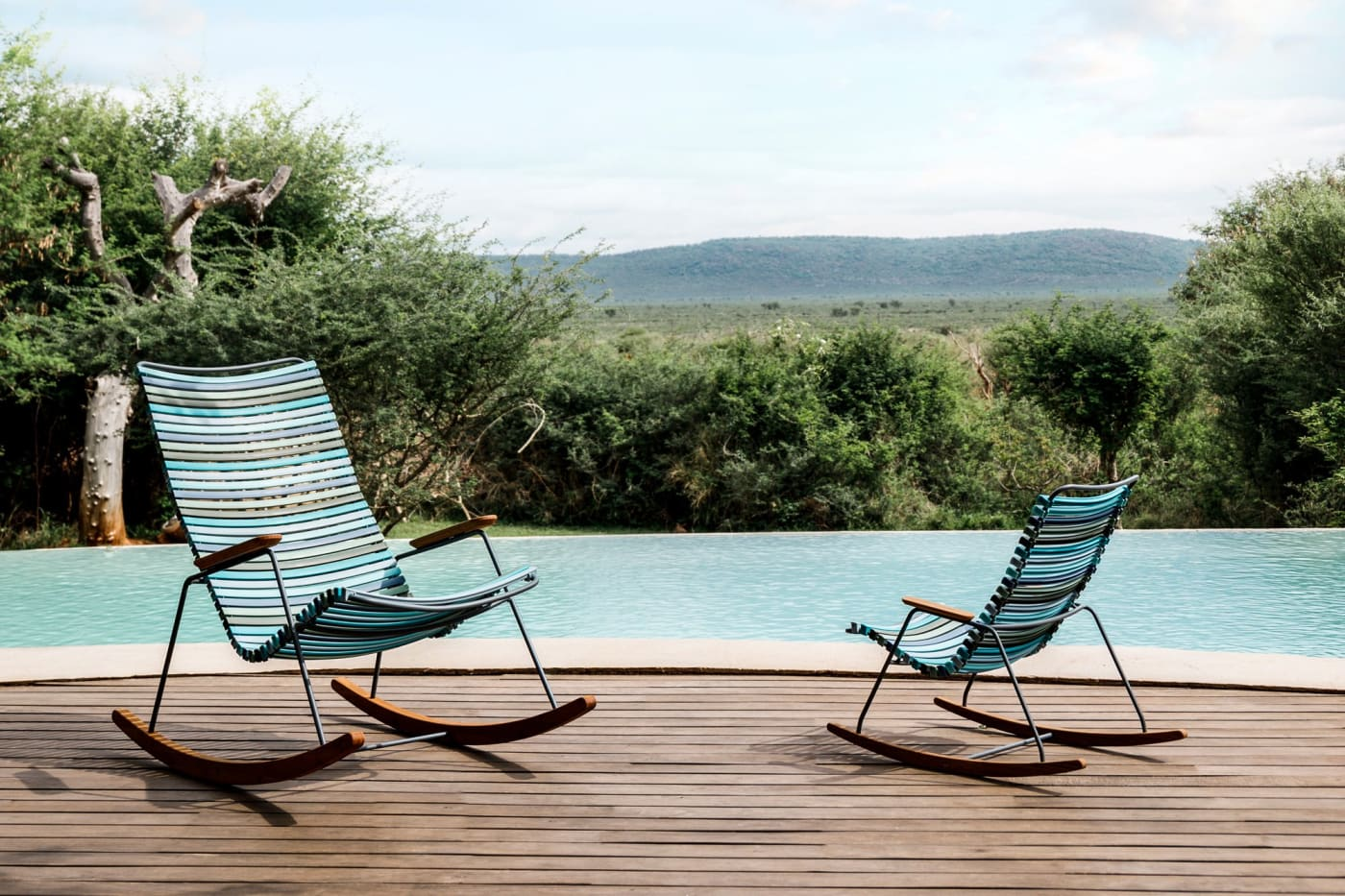 Click Lounge Chair - Multicolour Blue Stripe