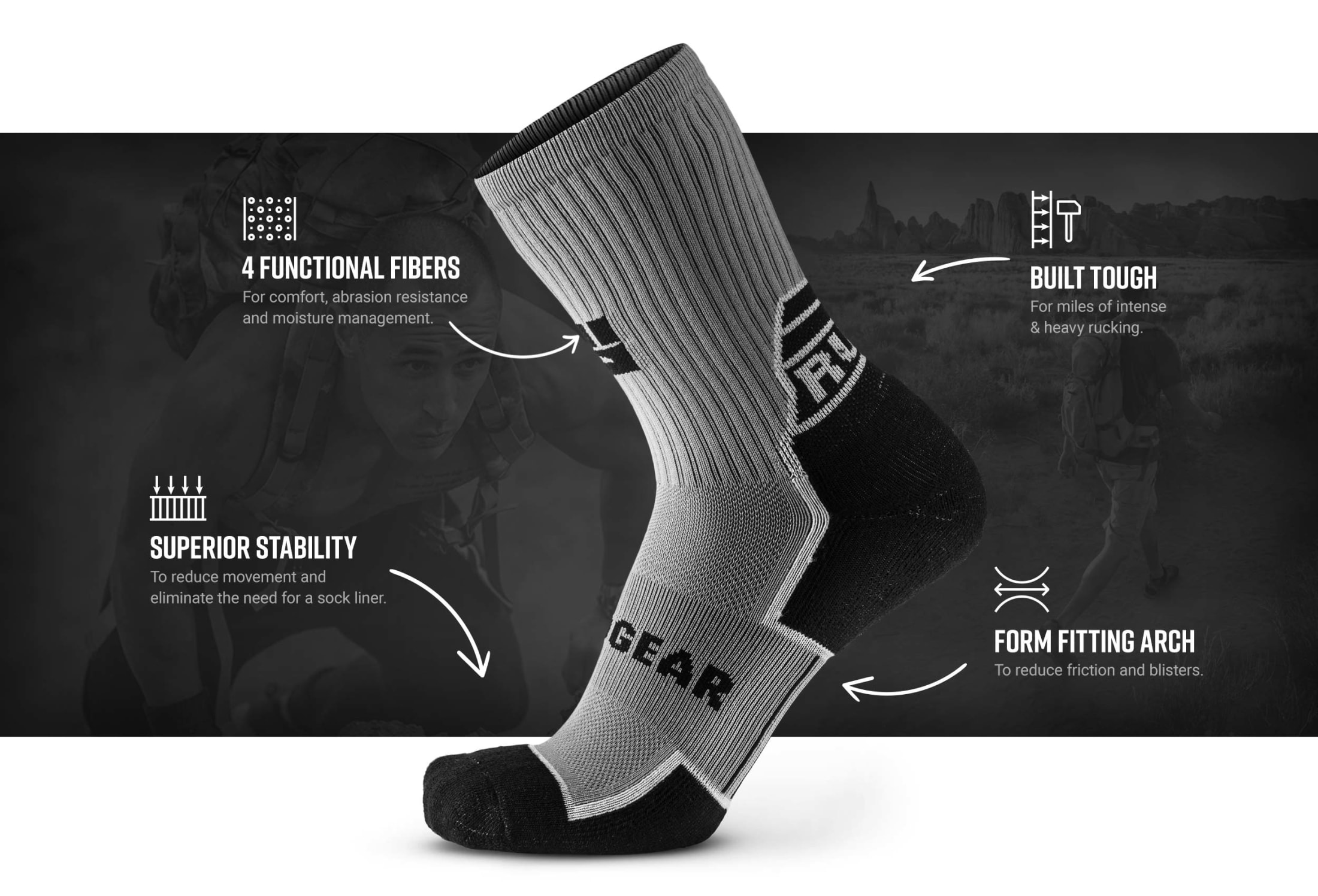 Infographic of MudGear Ruck Sock (Gray/Black)