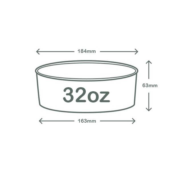 32oz (1000ml) Wide Paper Bowl - Kraft - 185 Series