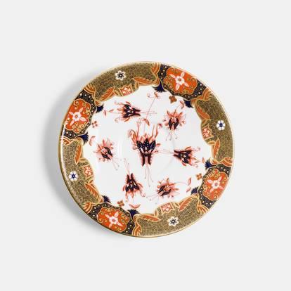 V&A Dragon Flower Reflect Platinum Teacup and Saucer Set