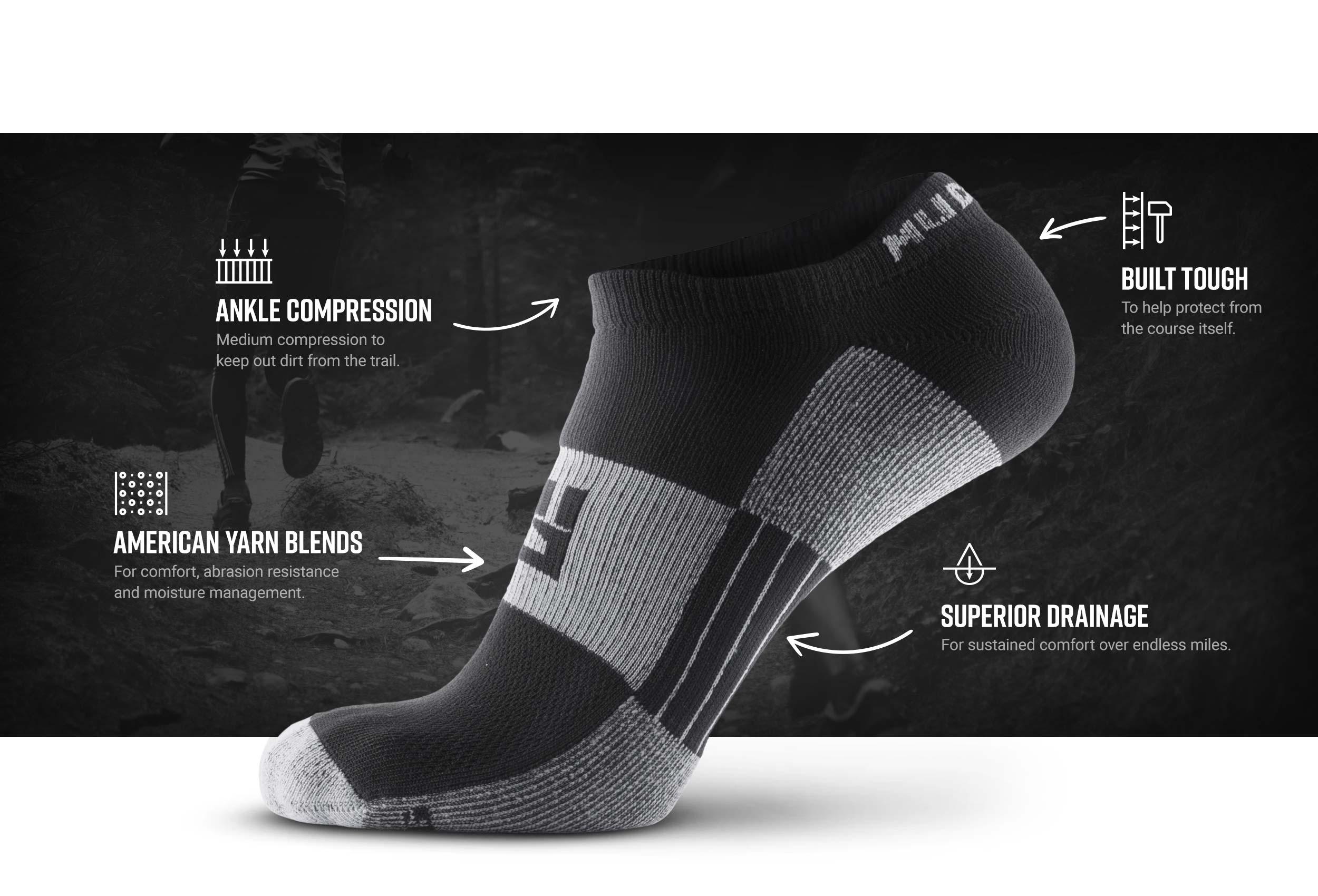 Infographic of No-Show Running Socks - Black/Gray (2 Pair Pack)