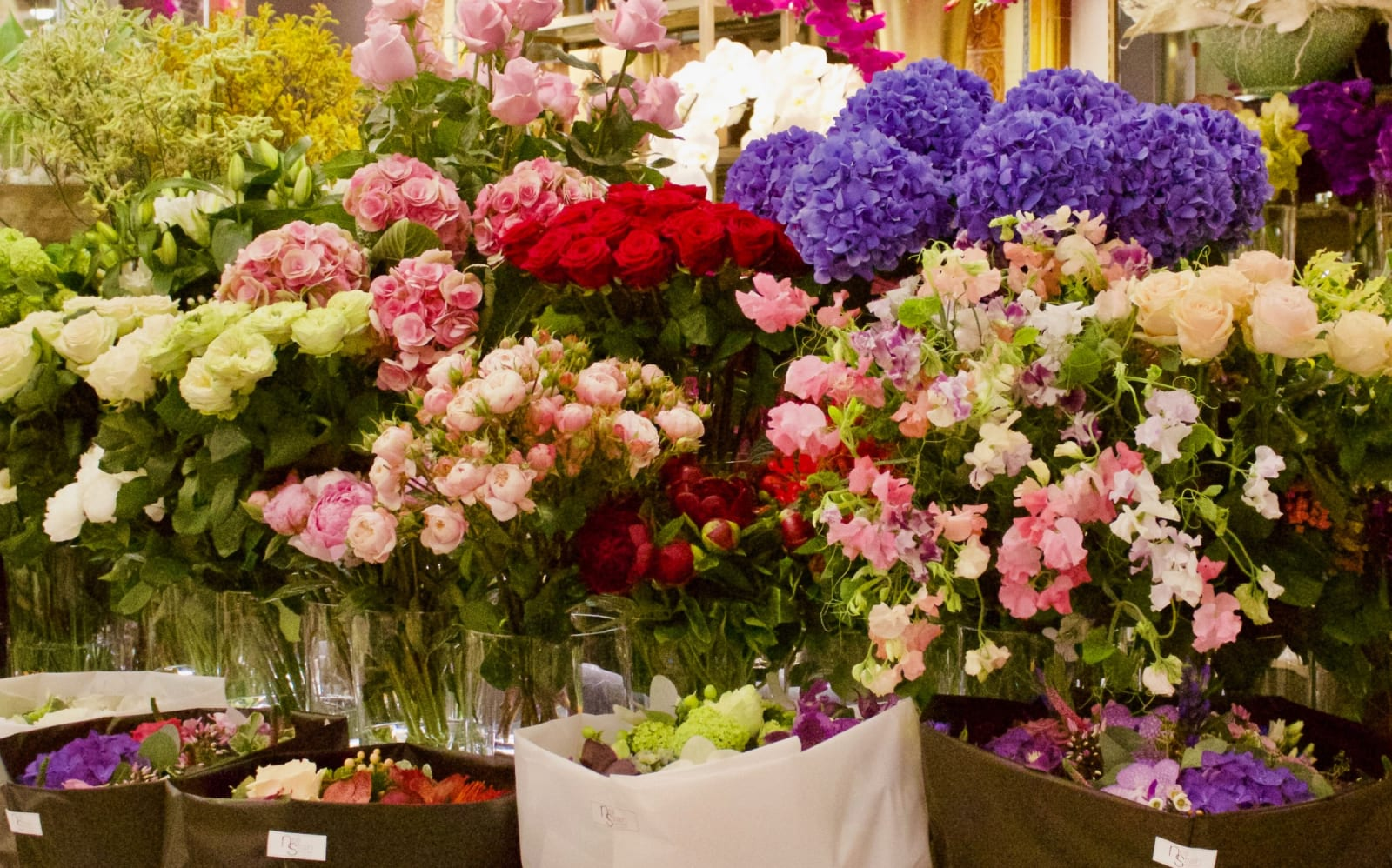 A colourful assortment of flowers at Harrods in London.