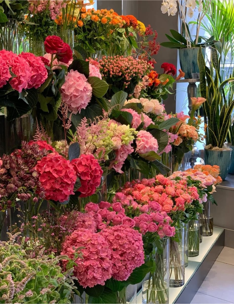 Flowers in the Belgravia Boutique in London.