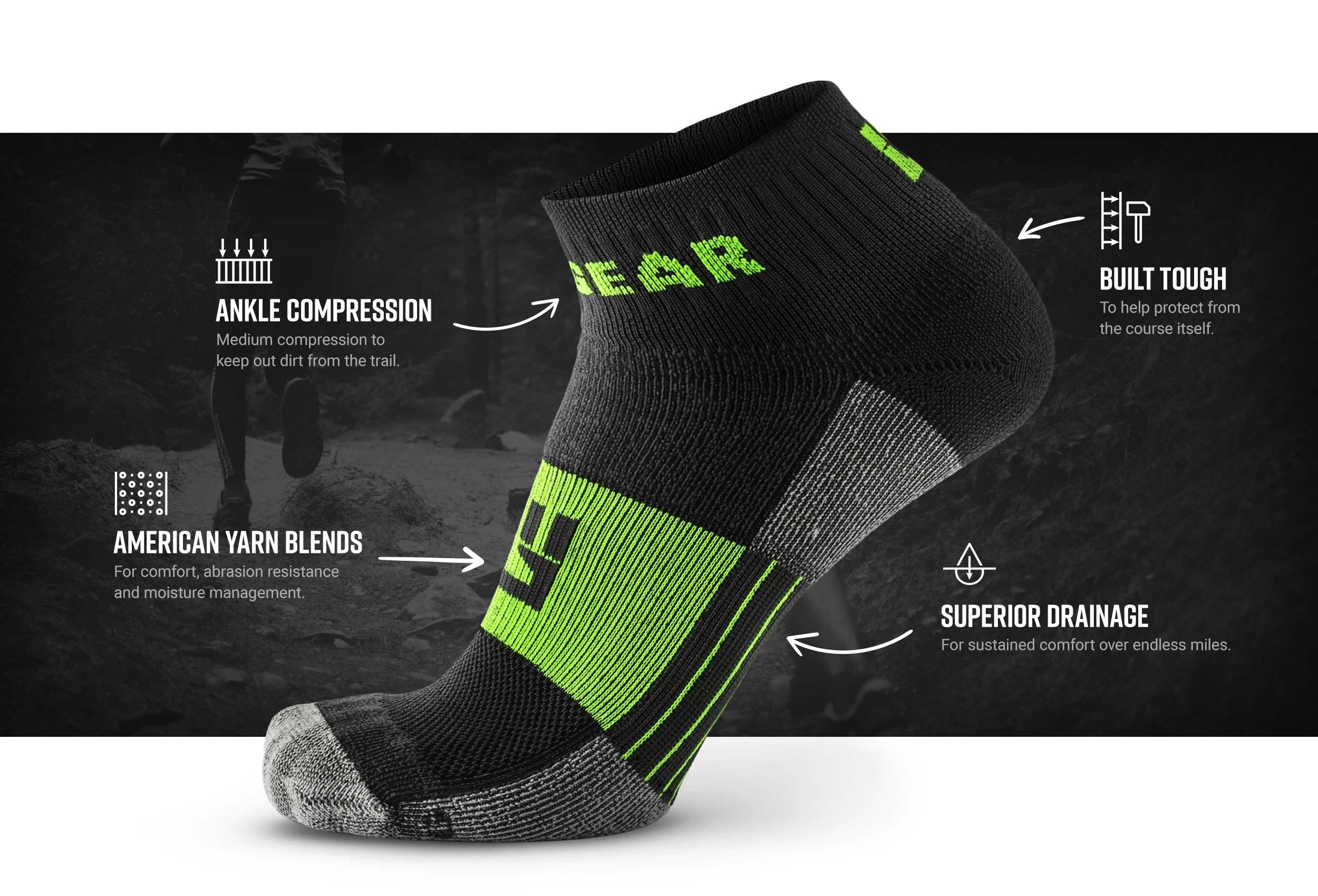 Infographic of 1/4 Crew Socks - Gray/Green (2 pair pack)