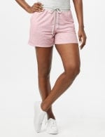 Stripe Drawstring Knit Shorts - Pink - Front