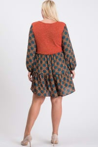 Cozy In-Style Long Sleeve Dress - Rust - Back