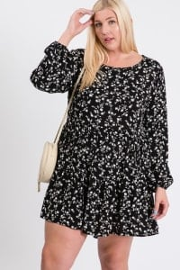 Summery Floral Dress - Black / Ivory - Back