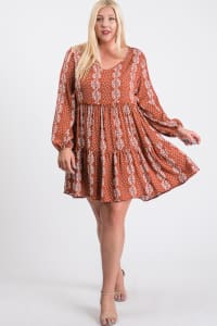 Summer Essential Flowy Dress - Rust / Cream - Back