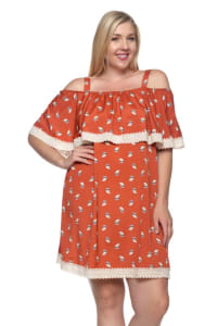 Owl Print Ruffle Dress - Orange - Back