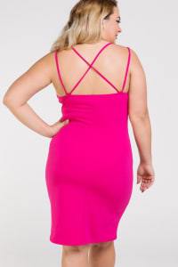 Woman in Dress - Fuchsia - Back