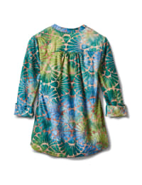 Tie Dye Clip Jaquard Popover Knit Top - Blue/Green - Back