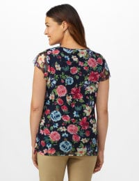 Floral Mesh Tier Knit Top - Misses - Navy - Back