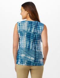 Tonal Blue Mesh Tie Dye Mesh Tier Knit Top - Navy - Back