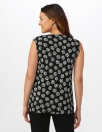 Sleeveless Geo Puff Print Knot Front Top - Black/White - Back