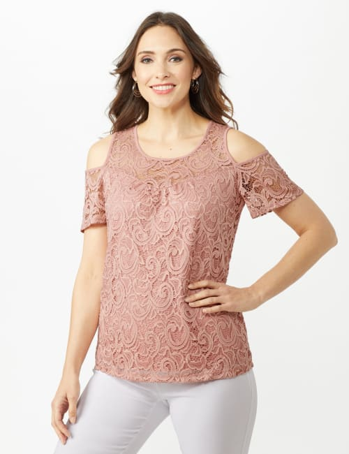 Lace Cold Shoulder Knit Top - Blush - Front